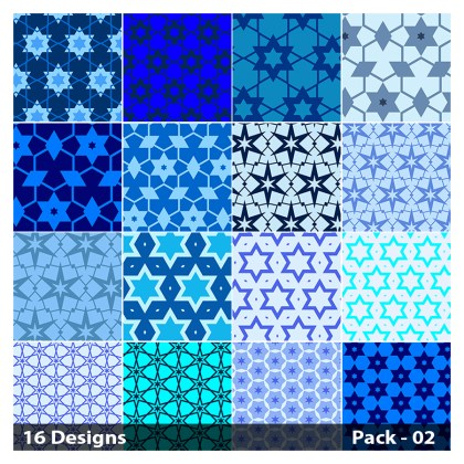 16 Blue Seamless Star Pattern Vector Pack 02