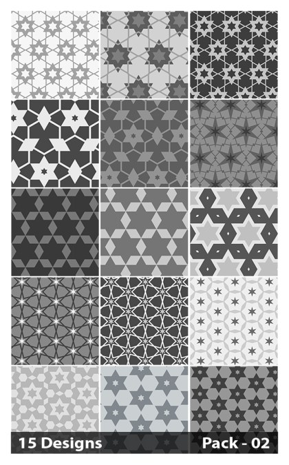 15 Grey Seamless Star Pattern Vector Pack 02
