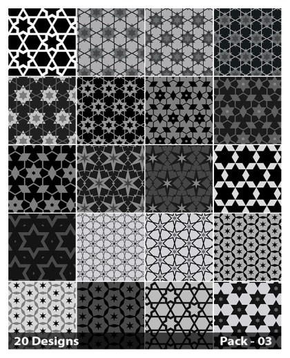 20 Black Star Pattern Background Vector Pack 03