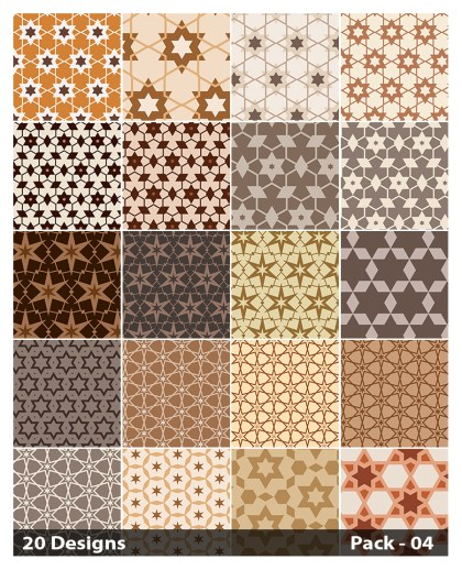 20 Brown Star Background Pattern Vector Pack 04