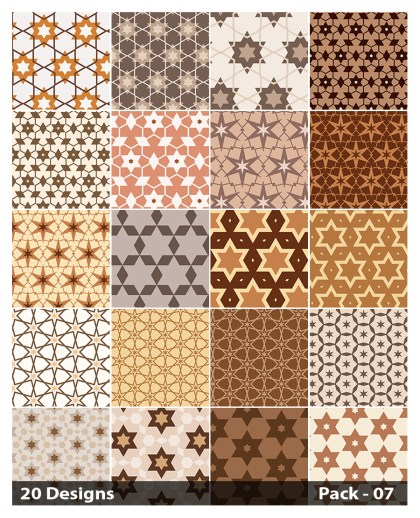 20 Brown Star Pattern Vector Pack 07