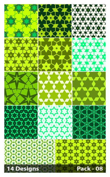14 Green Seamless Star Pattern Vector Pack 08