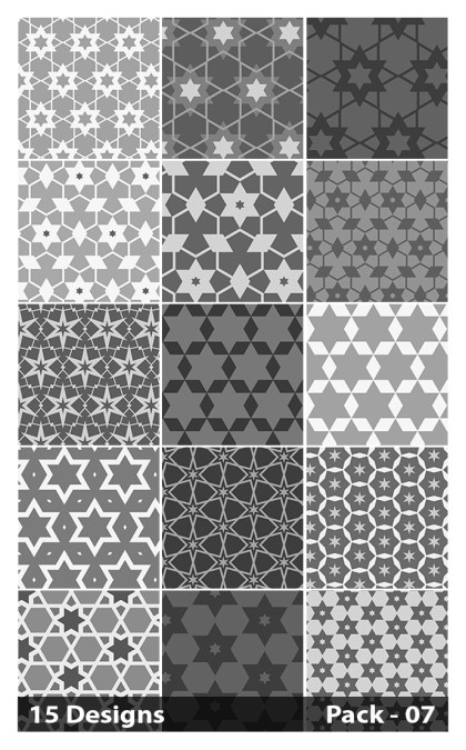 15 Grey Star Pattern Vector Pack 07