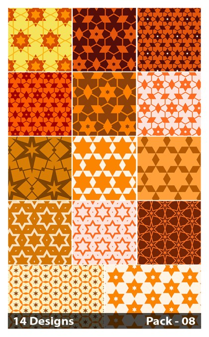 14 Orange Seamless Star Pattern Vector Pack 08