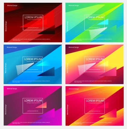 6 Abstract Modern Fluid Gradient Geometric Background Vector Pack