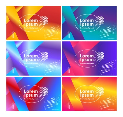 6 Abstract Fluid Gradient Geometric Background Vector Pack