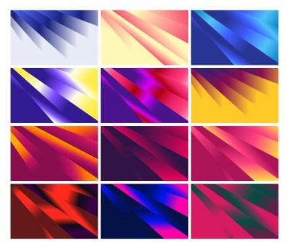 12 Fluid Color Shapes Composition Background Vector Pack