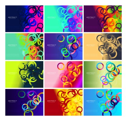 12 Liquid Color Circles Background Vector Pack