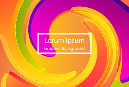 Abstract Orange Purple and Green Fluid Color Gradient Shape Background