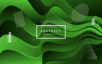 Abstract Green and Black Liquid Color Wavy Background Vector Graphic
