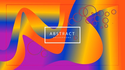 Abstract Blue Orange and Purple Liquid Wavy Shapes Composition Background