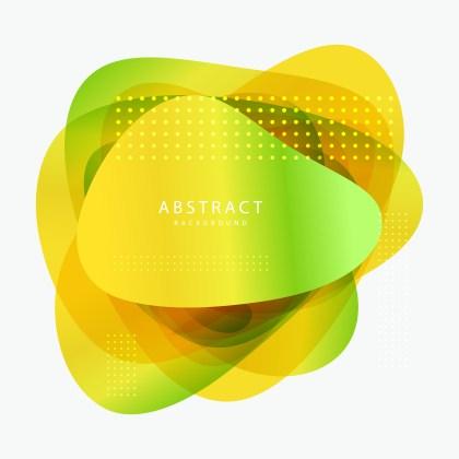 Abstract Green and Yellow Geometric Liquid Shape