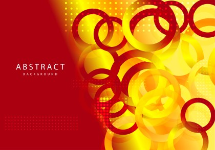 Red and Yellow Fluid Color Gradient Circles Shapes Composition Background