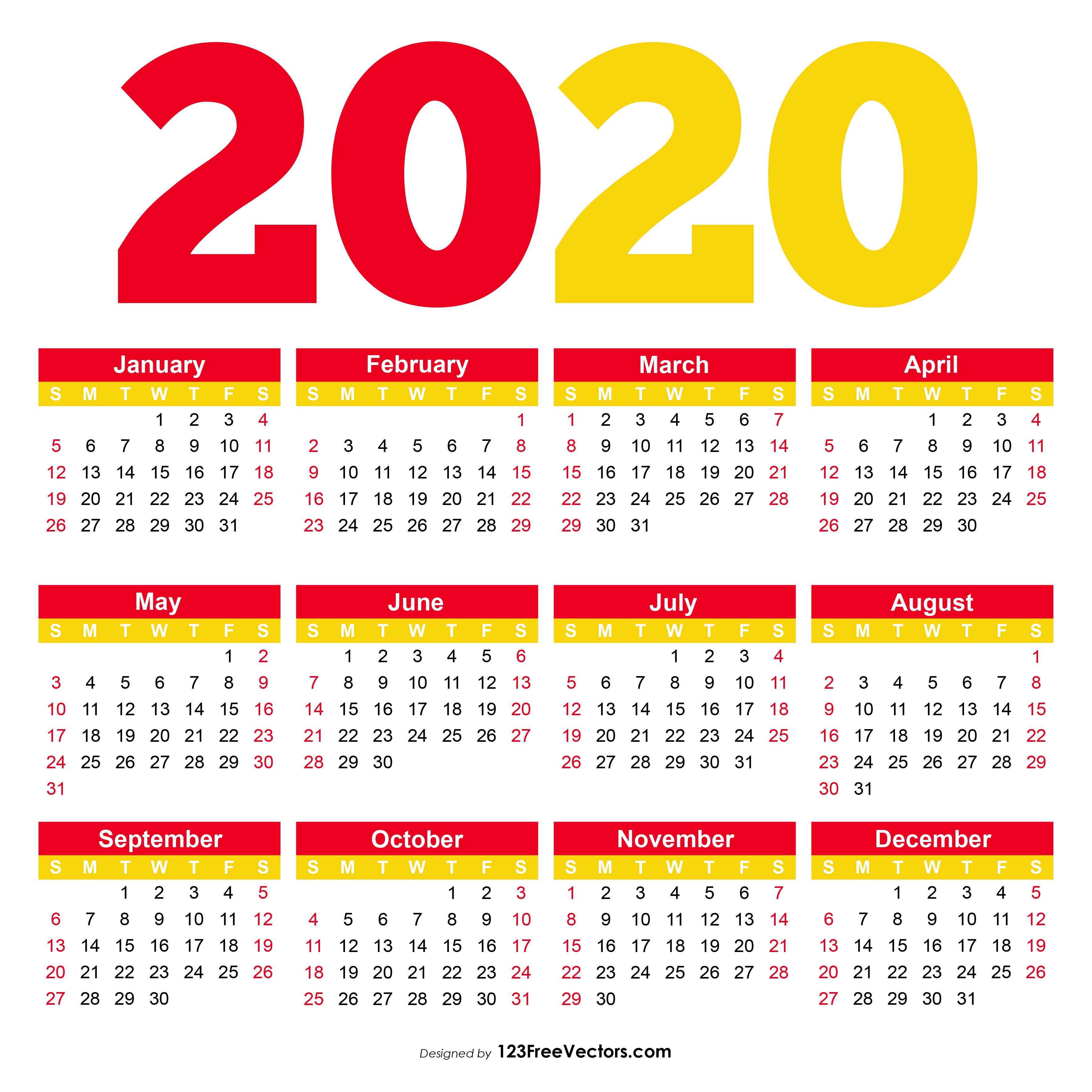 210  2020 calendar vectors