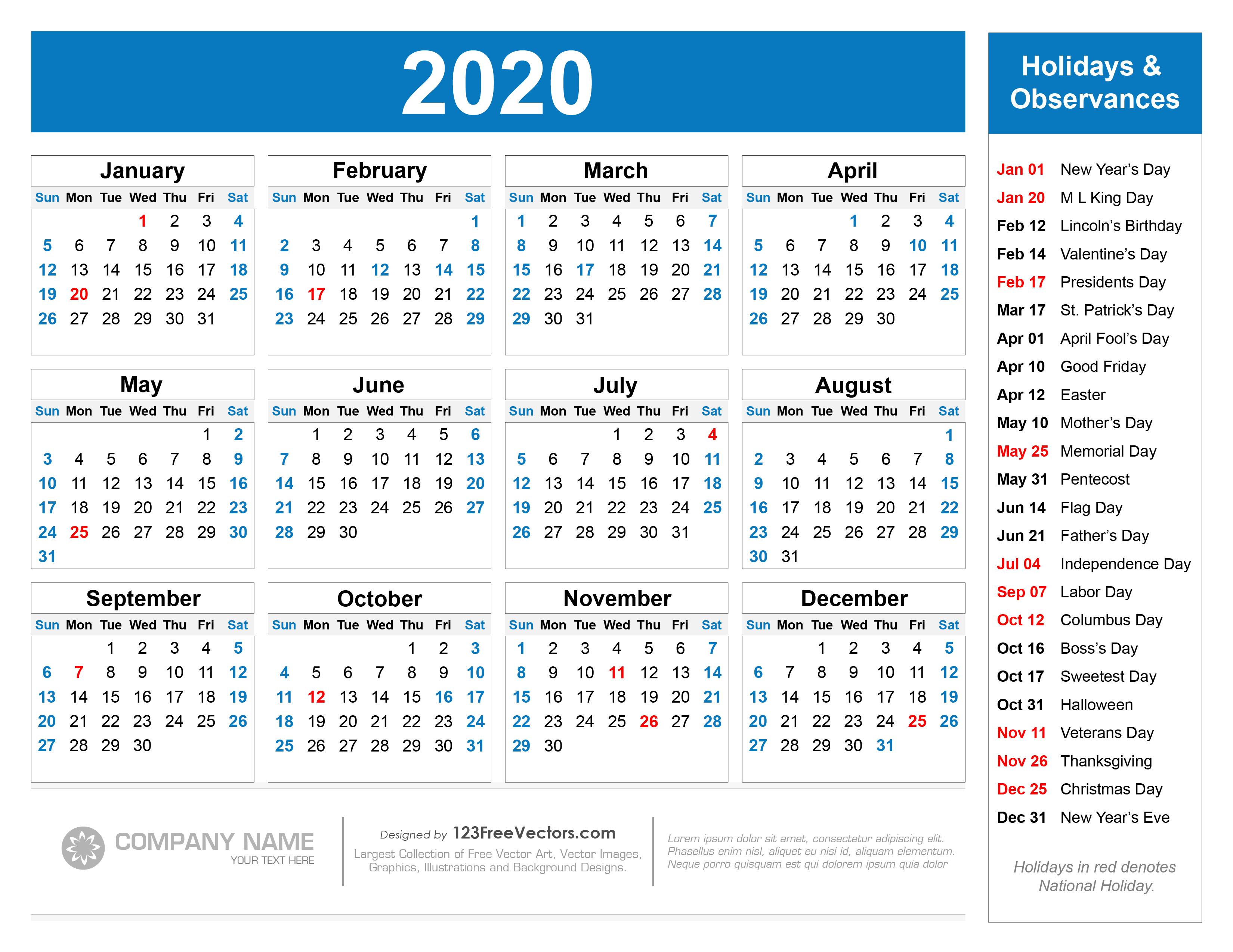 Free 2020 Printable Christmas Calendar 210+ 2020 Calendar Vectors | Download Free Vector Art & Graphics
