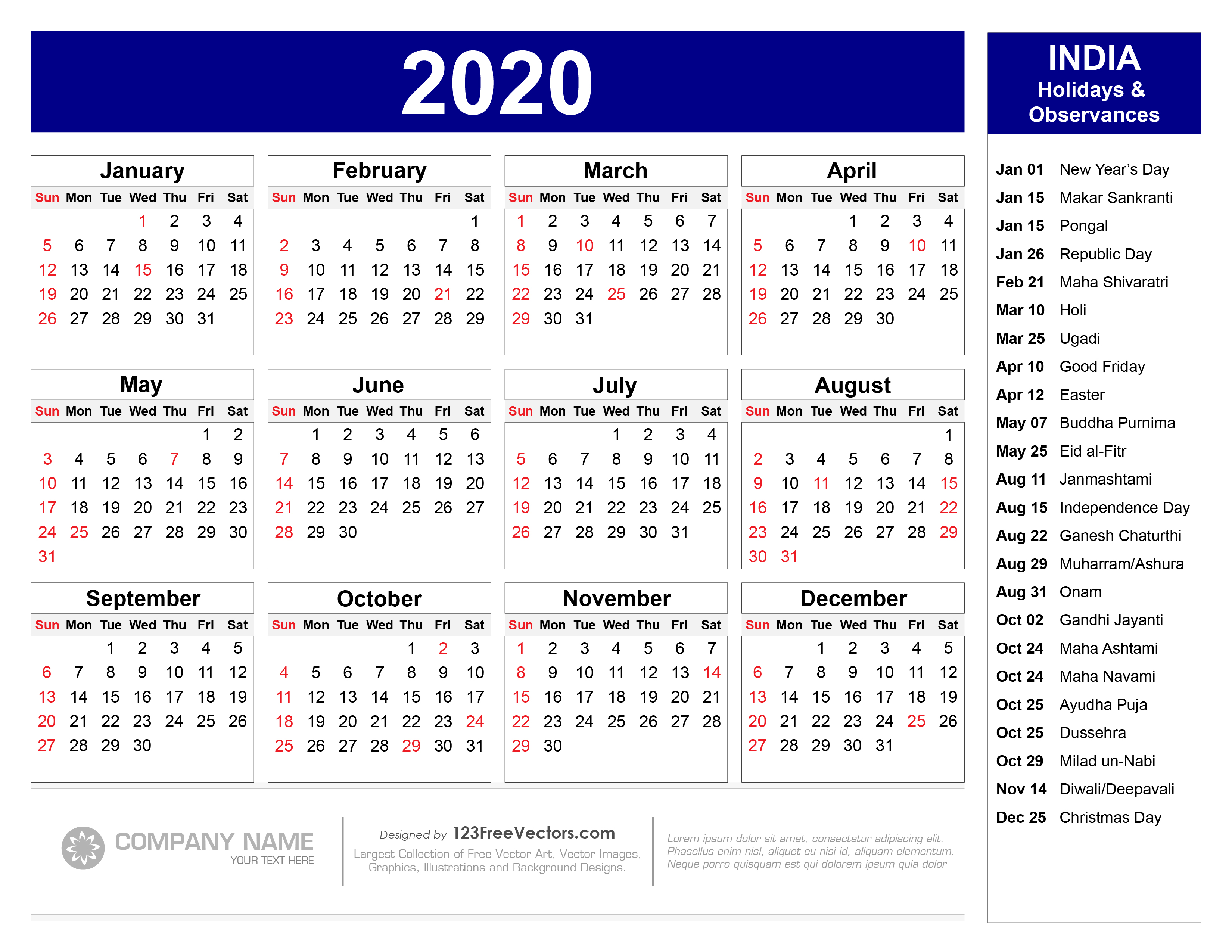 Indian Calendar 2022.Free 2020 Calendar With Indian Holidays Pdf
