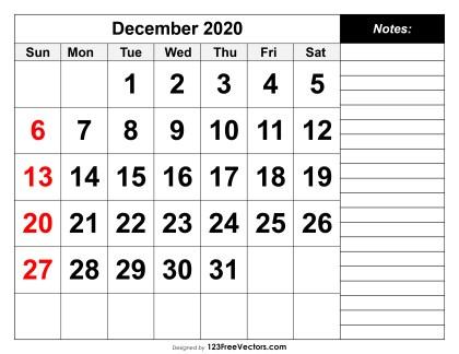 free printable calendar december 2020