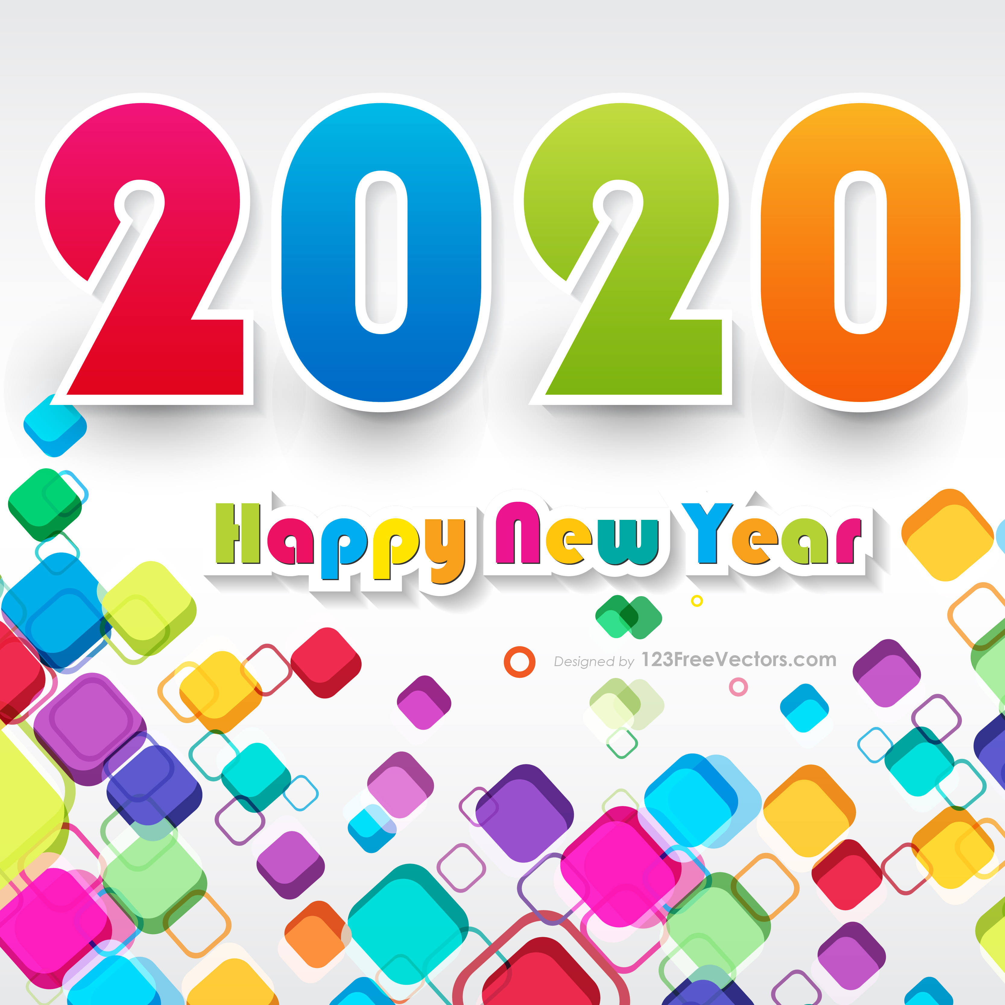 Get Happy New Year 2020 Vector Free Download Background