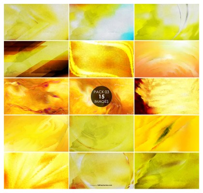 15 Yellow Watercolor Background Pack 03