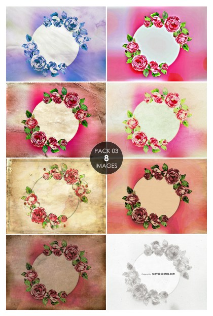 8 Greeting Card with Round Frame and Rose Flowers Pack 03