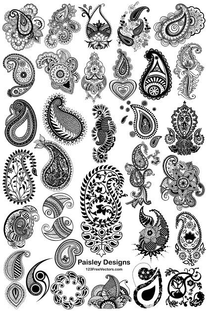 32 Hand Drawn Paisley Designs Vector Pack