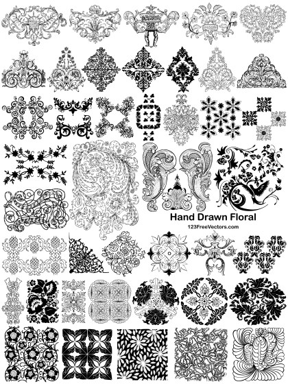 42 Hand Drawn Floral Ornaments Vector Pack