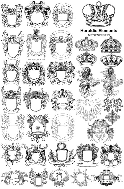 35 Heraldic Elements Hand Drawn Shields and Crowns