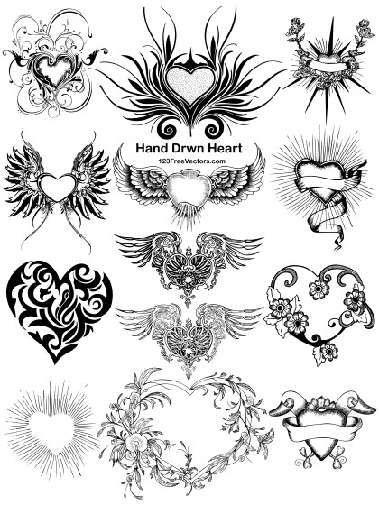 13 Hand Drawn Heart Vector Pack