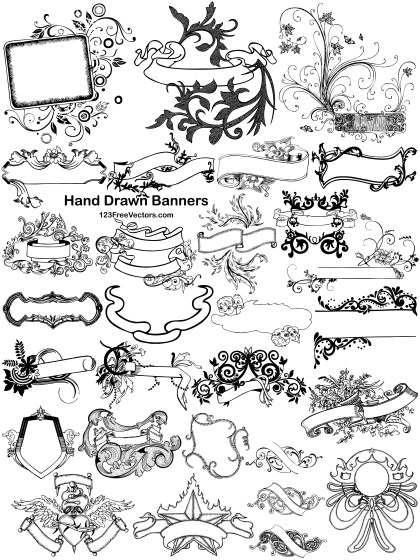 27 Hand Drawn Banners Vector Pack