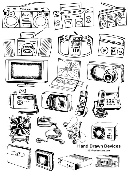 21 Hand Drawn Devices Vector Pack