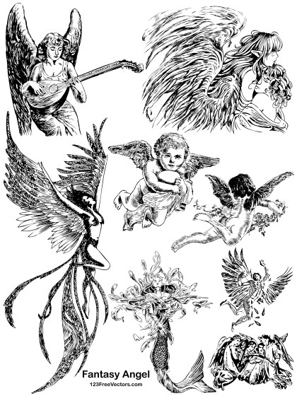 8 Hand Drawn Fantasy Angel Vector Pack