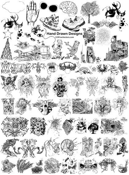 68 Hand Drawn Designs Vector Pack