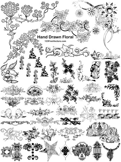 44 Hand Drawn Floral Designs Vector Pack