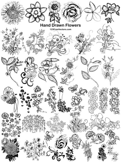 43 Hand Drawn Flowers Vector Pack
