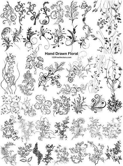 45 Hand Drawn Floral Vector Pack