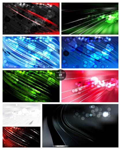 9 Blurred Lights Background Vector Pack 03