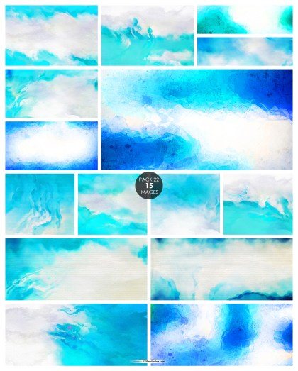 15 Blue and White Watercolor Background Pack 22