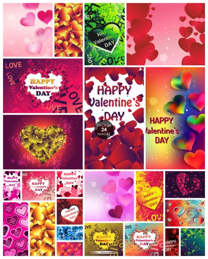 24 Heart Background Vector Pack 06