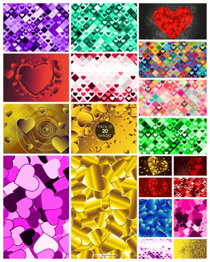 20 Heart Wallpaper Background Vector Pack 10