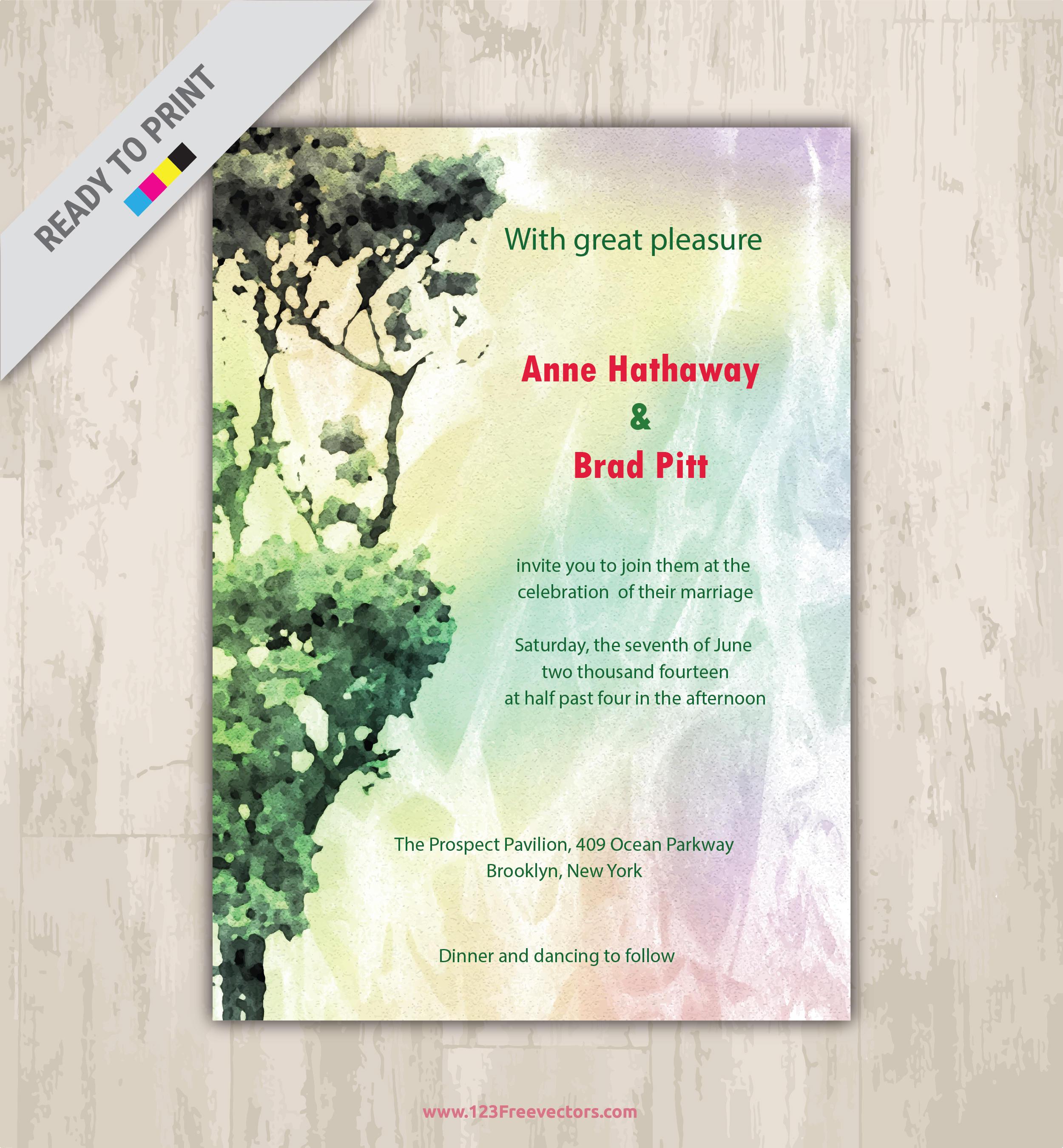 Watercolor Wedding invitation template gold glitter printable wedding invite design blue wedding printables abstract modern invite template