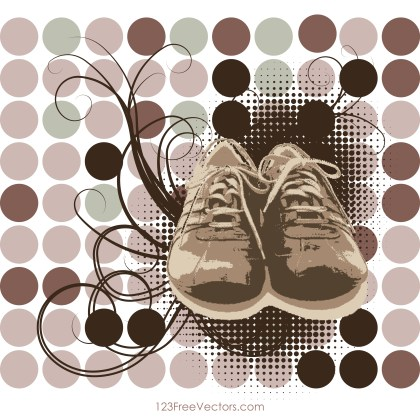 Shoes with Swirls Background Vector