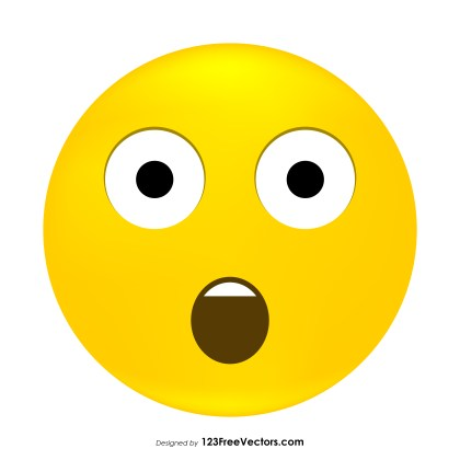 Face with Open Mouth Emoji Icons Vector