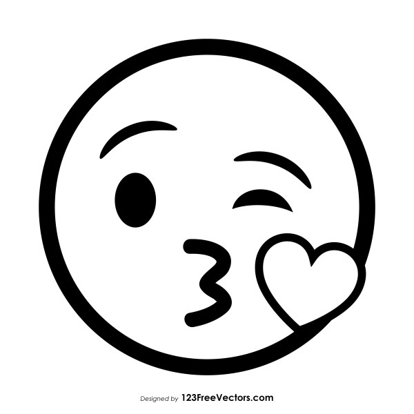33559 face blowing a kiss emoji outline