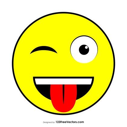 Flat Winking Face with Tongue Emoji Vector