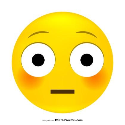 Flushed Face Emoji Vector Download