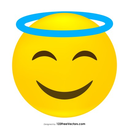 Smiling Face with Halo Emoji Icons Vector