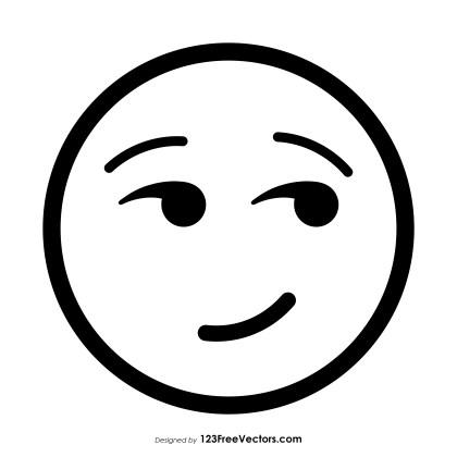 Smirking Face Emoji Outline