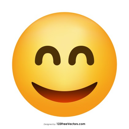 Smiling Face with Open Mouth and Smiling Eyes Emoji Vector Download