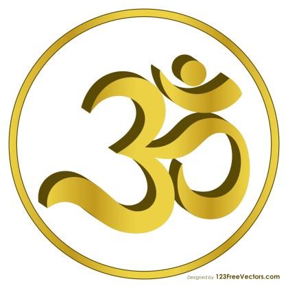 Golden Om Symbol Vector