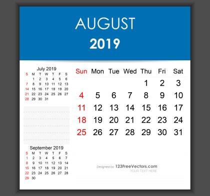 Editable August 2019 Calendar Template